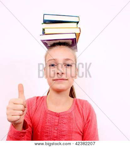 Contented Girl With Ok Sign And Books On Head