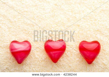 Three Oil Hearts On Towel