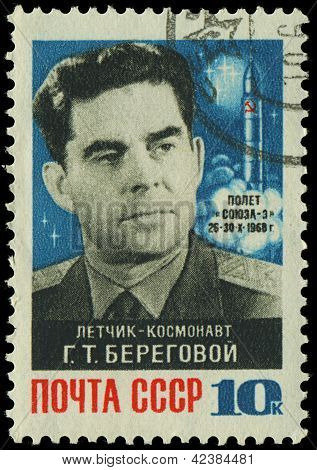 Russia - Circa 1979: A Stamp Printed In Ussr, Shows Portrait Of Russian Cosmonaut Beregovoy G.t., Ci