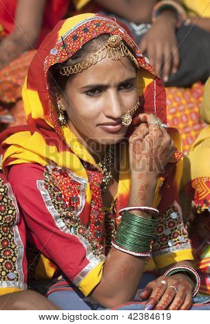 Indian Girl In Colorful Ethnic Attire
