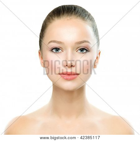 Beauty Girl. Beautiful Young Woman with Fresh Clean Skin, Beautiful Face. Pure Natural Beauty. Perfect Skin. Isolated on a White Background. Front Portrait of Beauty Girl. Youth