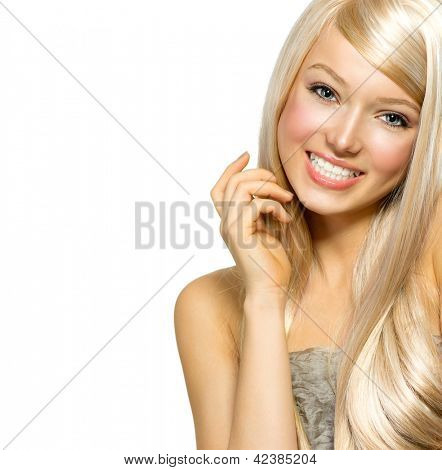 Beautiful Blond Girl isolated on a White Background. Blonde Long Hair. Beautiful Young Woman Portrait. Looking at Camera