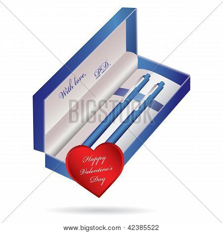 Blue Ballpoint Pen In A Blue Case