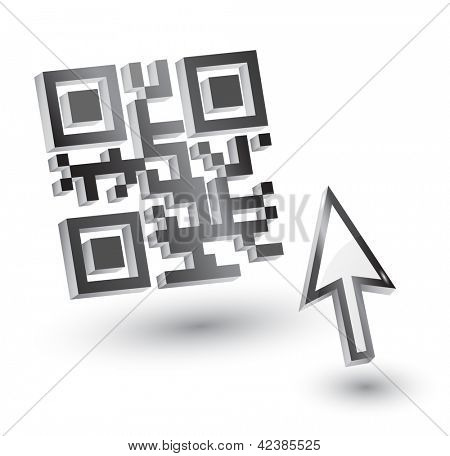 3D QR Code with mouse arrow, vector