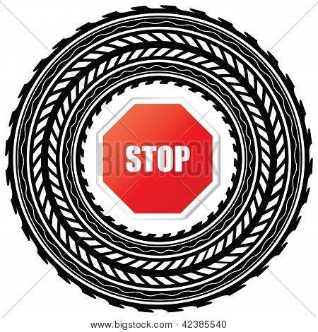 Pista de neumático con señal de Stop