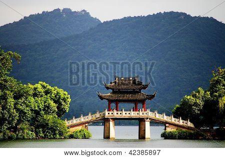 pavilion bridge in west lake, hangzhou, china