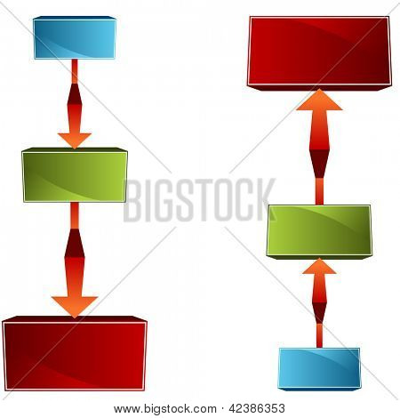 An image of a 3d tiered org chart.
