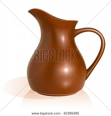 Clay pitcher. vector illustration