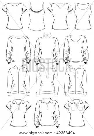 Collection of women clothes outline templates. vector illustration