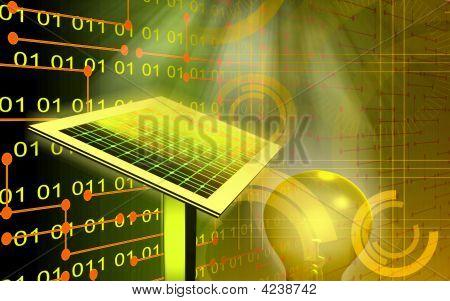 Solar-Panel und Filament Zwiebel