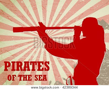 pirates of the sea - captain with a spyglass