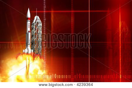 Rocket Launching From Platform