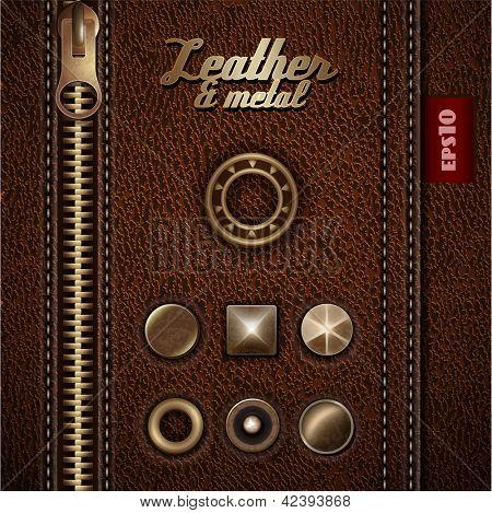 Couro e elementos de design metal - eps10