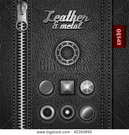 Leather and metal design elements - eps10
