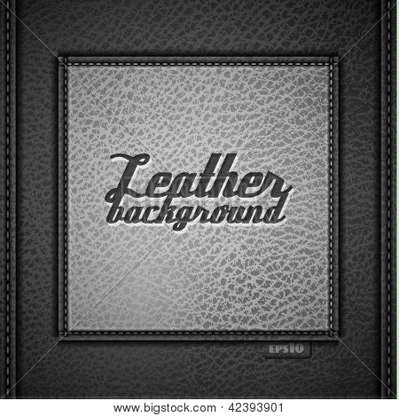Leather background with stiched label - eps10