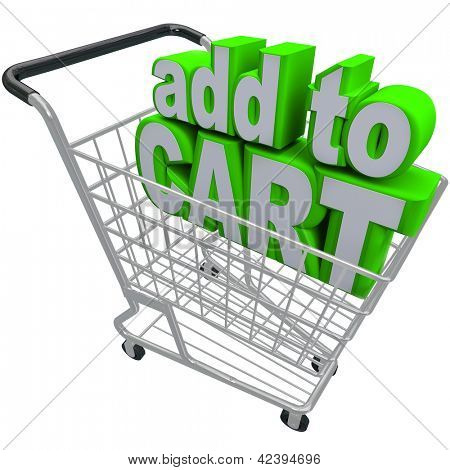 The words Add to Cart in a shopping basket to symbolize ecommerce and browsing or buying from an online store or shop
