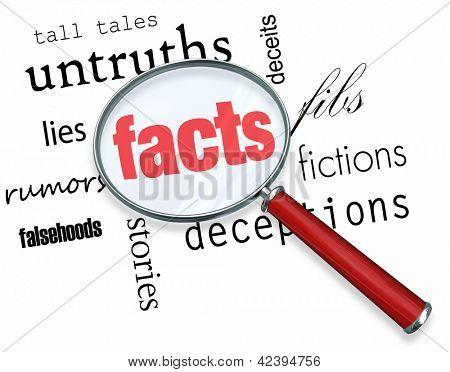 Una lupa revoloteando sobre varias palabras como engaños y mentiras, en el centro de los cuales es F