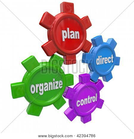 Four gears symbolizing the four principles of good management style: plan, organize, direct, and control -- four actions required to achieve desired results for a leader in an organization