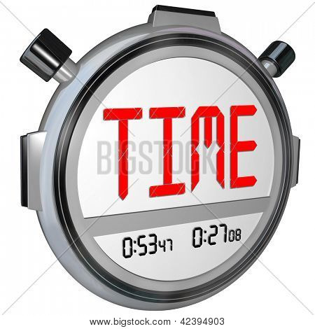 A stopwatch with the word Time measures the speed and acceleration as you race to meet a goal and achieve success