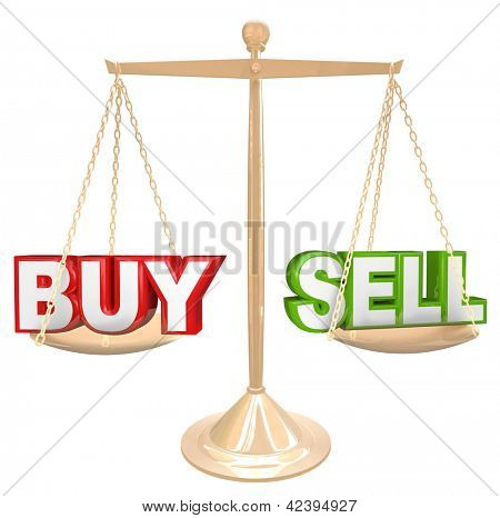 The words Buy and Sell on a gold scale comparing the risks and benefits of timing your buying and selling of an item such as a house or financial investment