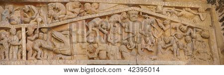 Last Judgment Carving Showing Tortures And Punishments Of Hell,  From The 13Th Century, Abbey Church