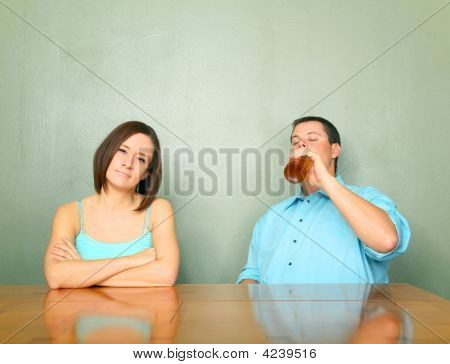 Disappointed Female To Her Boyfriend Drinking Problem