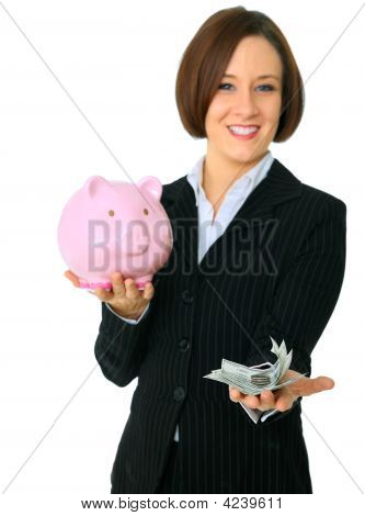 Female Caucasian Hold Money On Focus