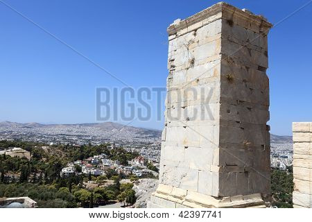 Ancient Agrippa Tower Of The Acropolis Propylae