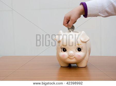 Piggybank Hands Boy
