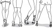 stock photo of stripper shoes  - Womens Legs Hand Drawn - JPG