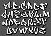 Graffiti font alphabet letters. Hip hop type grafitti design