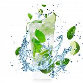 stock photo of mojito  - Mojito cocktail with splashing liquid isolated on white - JPG