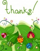 Illustration of a Thank You Card with Ladybugs and Leaves in the Background