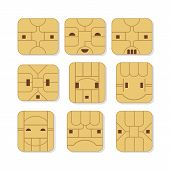 stock photo of micro-sim  - Sim cards set with various face expressions - JPG