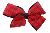 stock photo of hair bow  - Red plaid ribbon bow - JPG