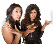 pic of snob  - Young annoyed club girls in fashionable clothes with drinks - JPG