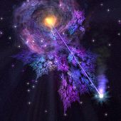 picture of stellar  - A shooting star radiates out from a black hole in the center of a galaxy - JPG