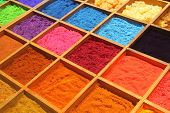 image of stall  - Pigment powder for sale at a market stall for artists - JPG