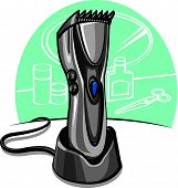 stock photo of electric trimmer  - modern  electric hair clipper at the table - JPG
