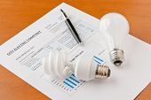 foto of economizer  - Energy efficient and incandescent bulbs on electric bill - JPG