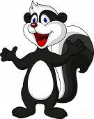 stock photo of skunks  - vector illustration of skunk cartoon waving hand - JPG
