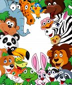 image of wild-rabbit  - Vector illustration of cute Animal cartoon background - JPG