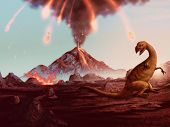 stock photo of meteor  - artwork of a violently erupting volcano raining fire down on a helpless dinosaur - JPG