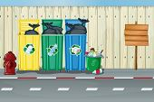 stock photo of dustbin  - Illustration of dustbins - JPG
