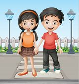 stock photo of post-teen  - Illustration of two teenager holding hands together - JPG
