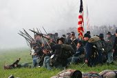 image of civil war flags  - Civil War Battle Reenactment Kentucky - JPG