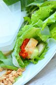 foto of nem  - Vegetables cucumber  garlic and lettuce in plate.