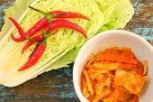 stock photo of kimchi  - Kimchi cabbage chili radish in the bowl - JPG