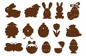 stock photo of sweet sixteen  - Sixteen Different Monochrome easter icons for decoration - JPG