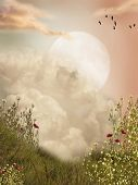 stock photo of grass bird  - Magic landscape moon with flowers and birds - JPG